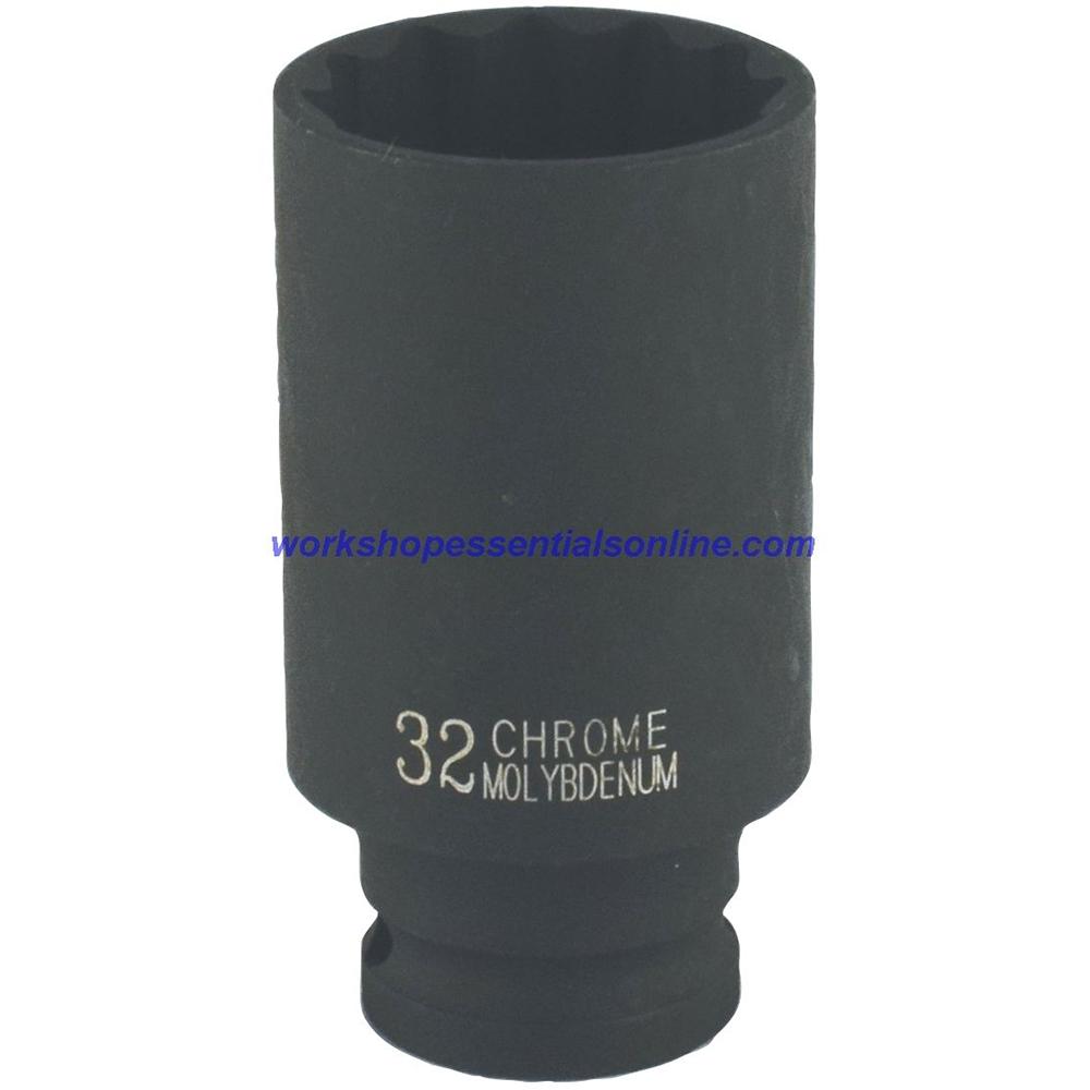 "1/2"" Drive 27mm Deep Impact Socket 6 Point 78mm Deep Trident T930127"