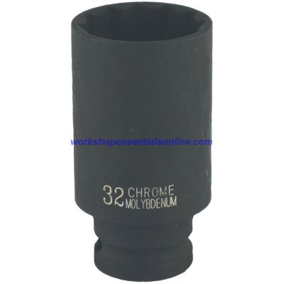 "1/2"" Drive 32mm Deep Impact Socket 6 Point 78mm Deep Trident T930132"