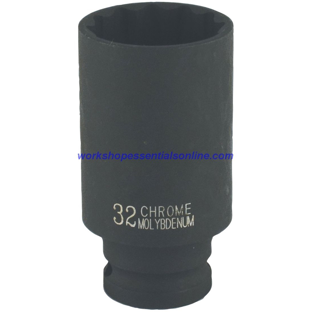 "1/2"" Drive 33mm Deep Impact Socket 6 Point 78mm Deep Trident T930133"
