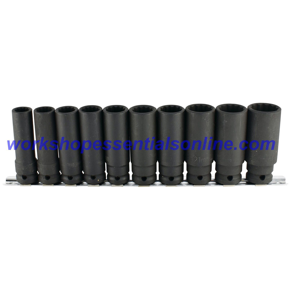 "1/2"" Drive Deep Impact Socket Set 12 point 13-24mm 10pc Trident T933100"
