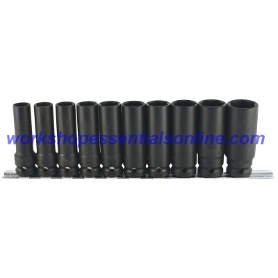 "1/2"" Drive Deep Impact Socket Set 6 point 13-24mm 10pc Trident T930100"