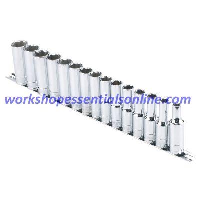 "1/2"" Drive Deep Metric Socket Set 8-22mm 15Pc 6 Point 75mm Long Signet S13450"