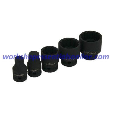 """1/2"""" Drive Hub Nut Impact Socket Set 24-30-32mm 14-17mm Hex Keys 5pc T452500"""