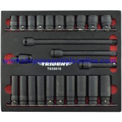 "1/2"" Drive Impact Socket Set Short & Deep + Extensions & UJ 24pc Trident T935010"