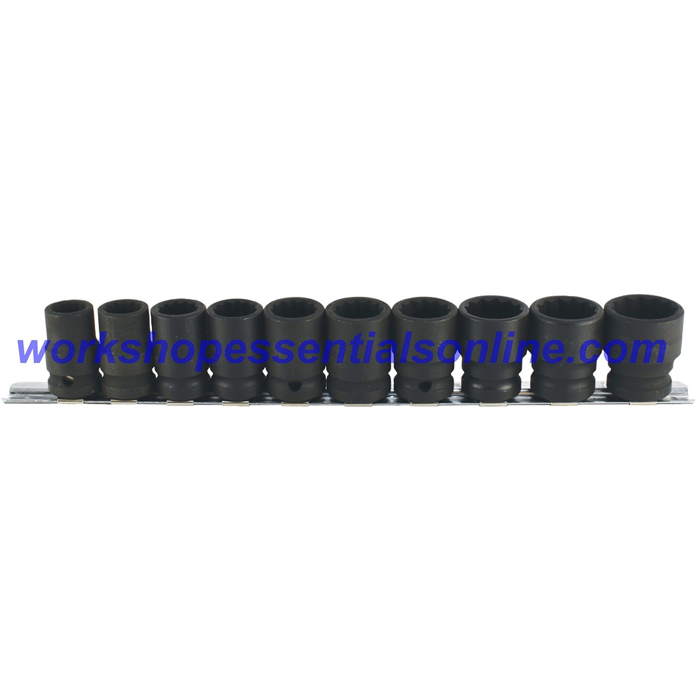 "1/2"" Drive Standard Impact Socket Set 12 Point 13-24mm 10pc Trident T933000"