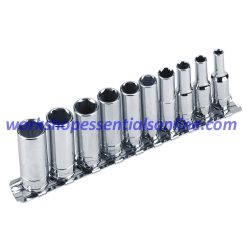 "1/4"" Drive Deep Metric Socket Set 10pc 4-13mm 6 Point 50mm Long Signet S11431"