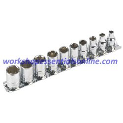 "1/4"" Drive Metric Socket Set 6 Point Std 4mm-13mm Signet S11331 10pc on a Rail"