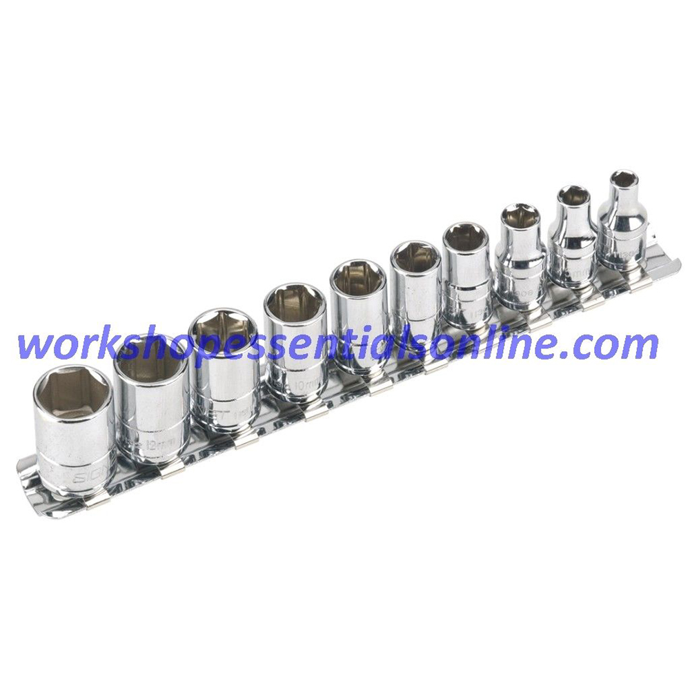 "1/4"" Drive Metric Socket Set 6 Point Std 4mm-13mm Signet S11331 10pc on a Rail"