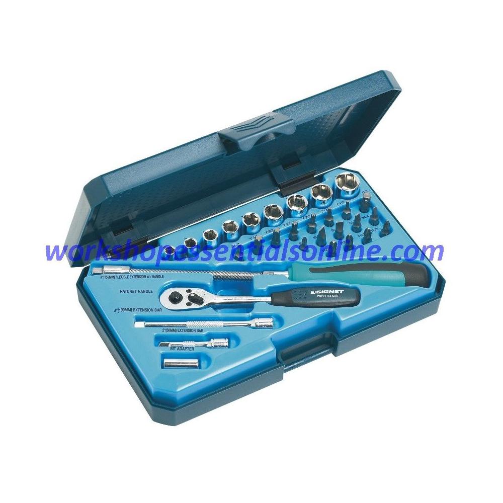 """1/4"""" Drive Socket & Bit Set 31pc with Ratchet, Extensions & FlexDr Signet S11739"""