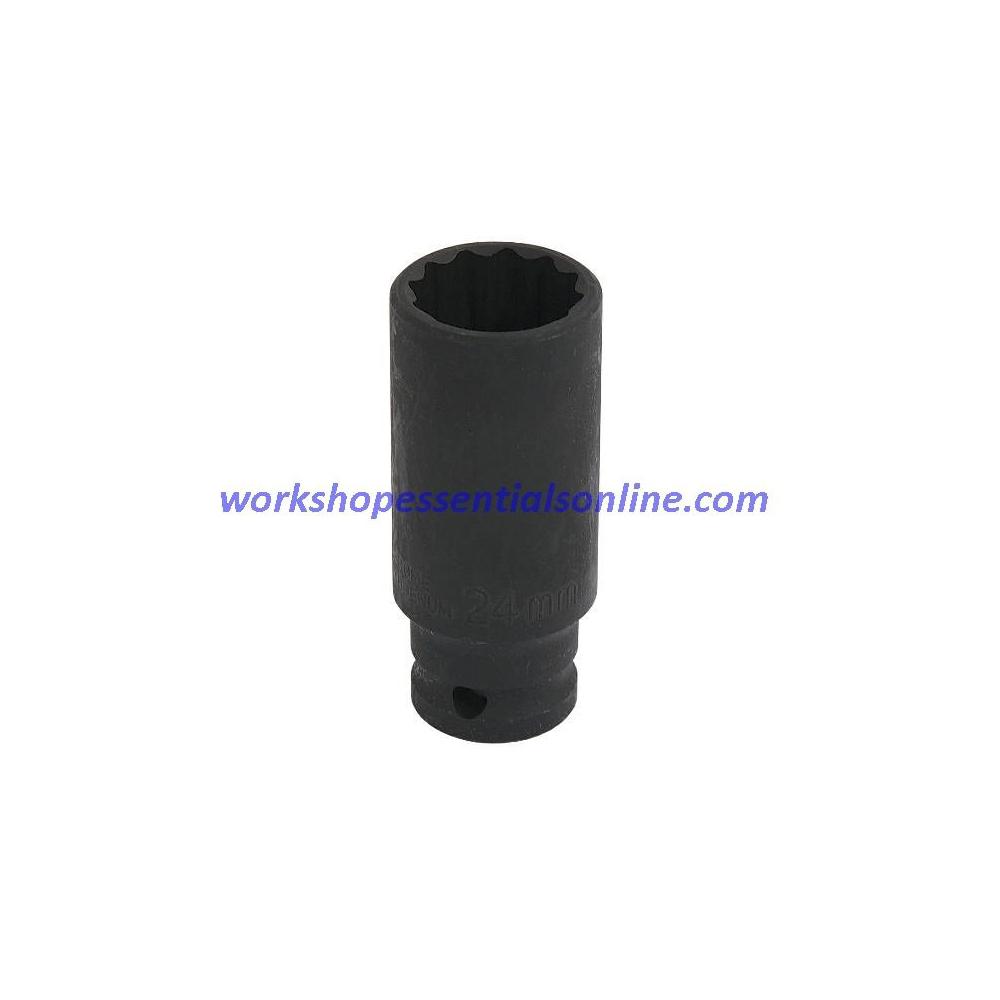 "24mm Deep 1/2"" Dr Impact Hub Nut Socket VAG 06 Axle Bolt 12 pt Trident T452324"