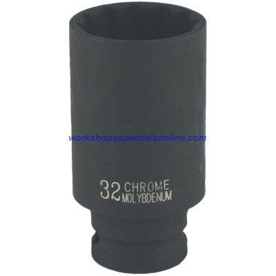 "32mm Deep 1/2"" Dr Impact Hub Nut Socket 12pt Audi-BMW-Cit-Fiat-Ford-GM-Merc-VAG"