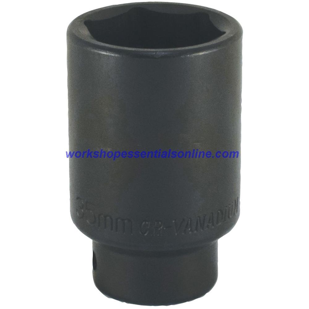 "35mm 1/2"" Drive Deep Impact Hub Nut Socket 6 Point Suits Citroen-Peugeot-Rover"