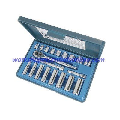 "3/8"" Drive Imperial Socket Set Standard+Deep Signet S12620 20pc In Plastic Case"