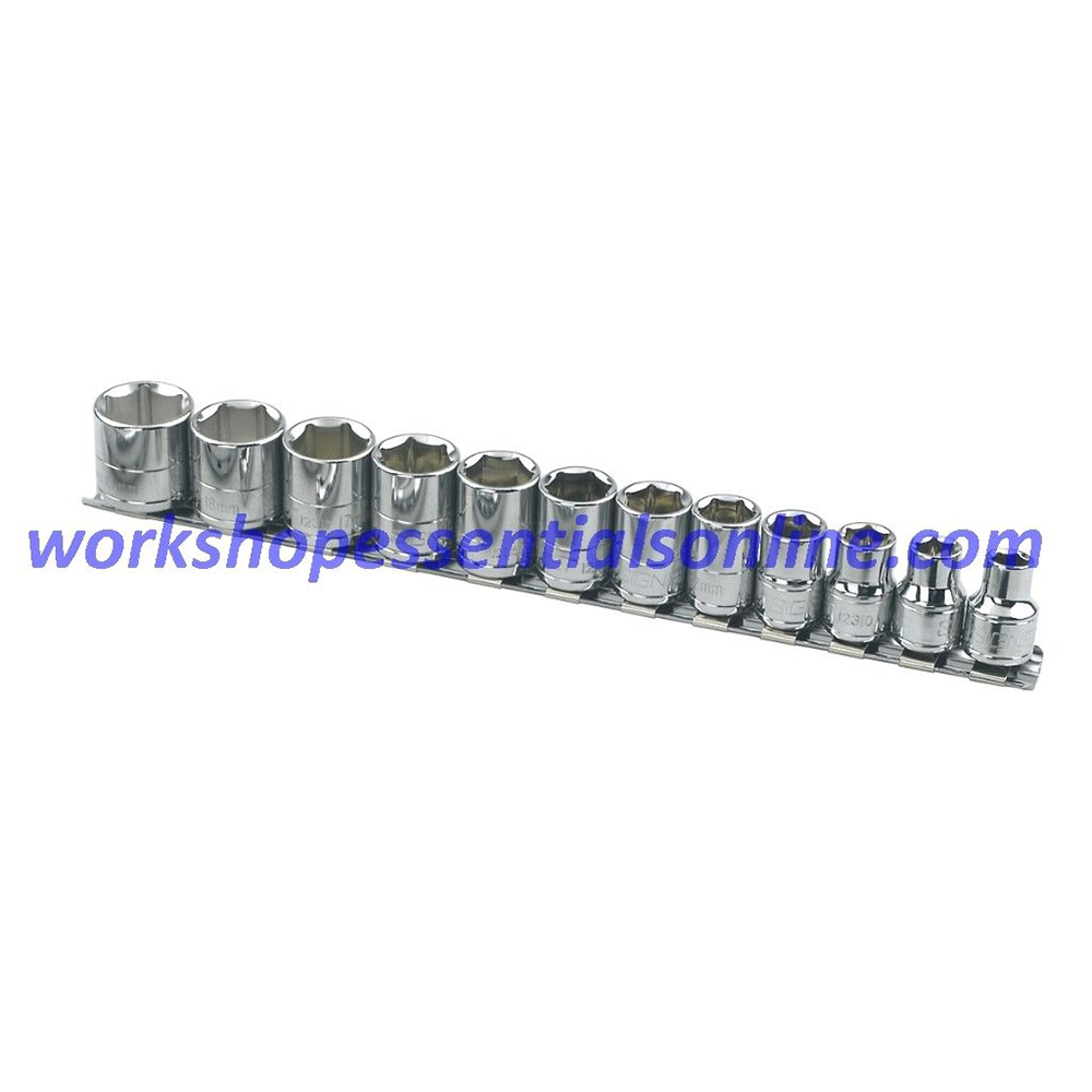 "3/8"" Drive Metric Socket Set 8-19mm Standard 6 Point Signet S12334 12pc On Rail"