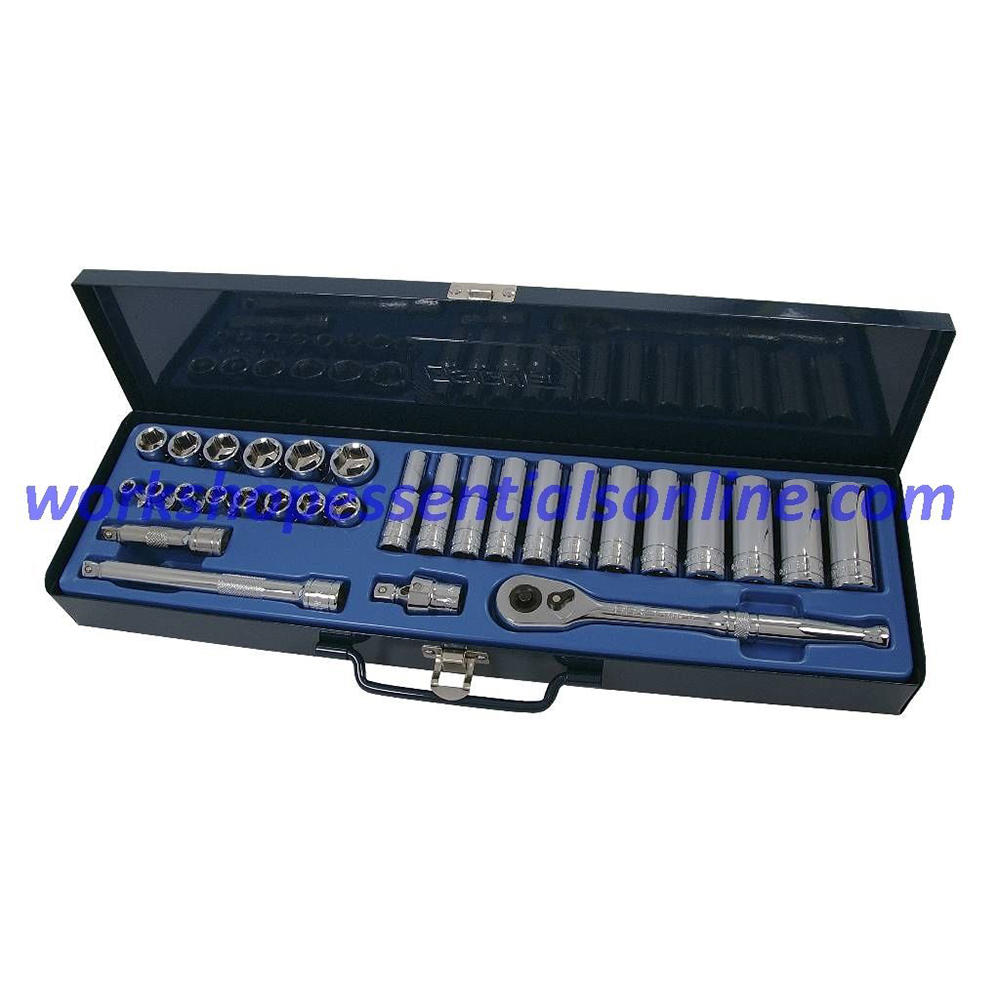 "3/8"" Drive Metric Socket Set Standard+Deep Signet S12830 30pc In Metal Case"
