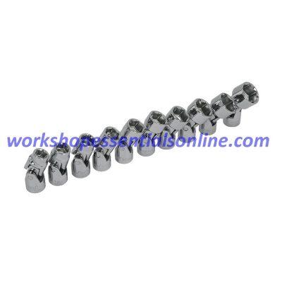 "3/8""drive Socket Set 10-19mm Universal Joint 10 Piece Trident T121800 Free P&P"