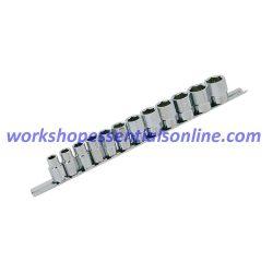 3//8 Drive Deep Impact Socket Set 10 Piece On A Rail 10-19mm 6pt Trident T920100