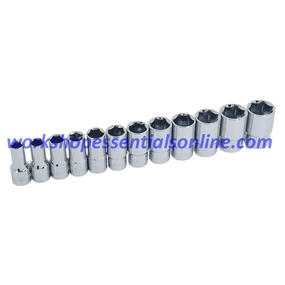 """3/8""""drive Socket Set 8-19mm Semi Deep 12 Piece Trident T120100 Free P&P"""