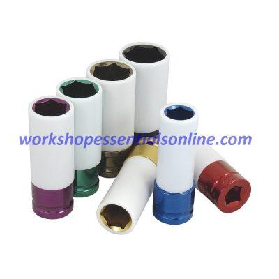 "Alloy Wheel Nut Socket Set 1/2""Dr 7Pc Protected 17-19-21-22-23-24-27mm T431200"