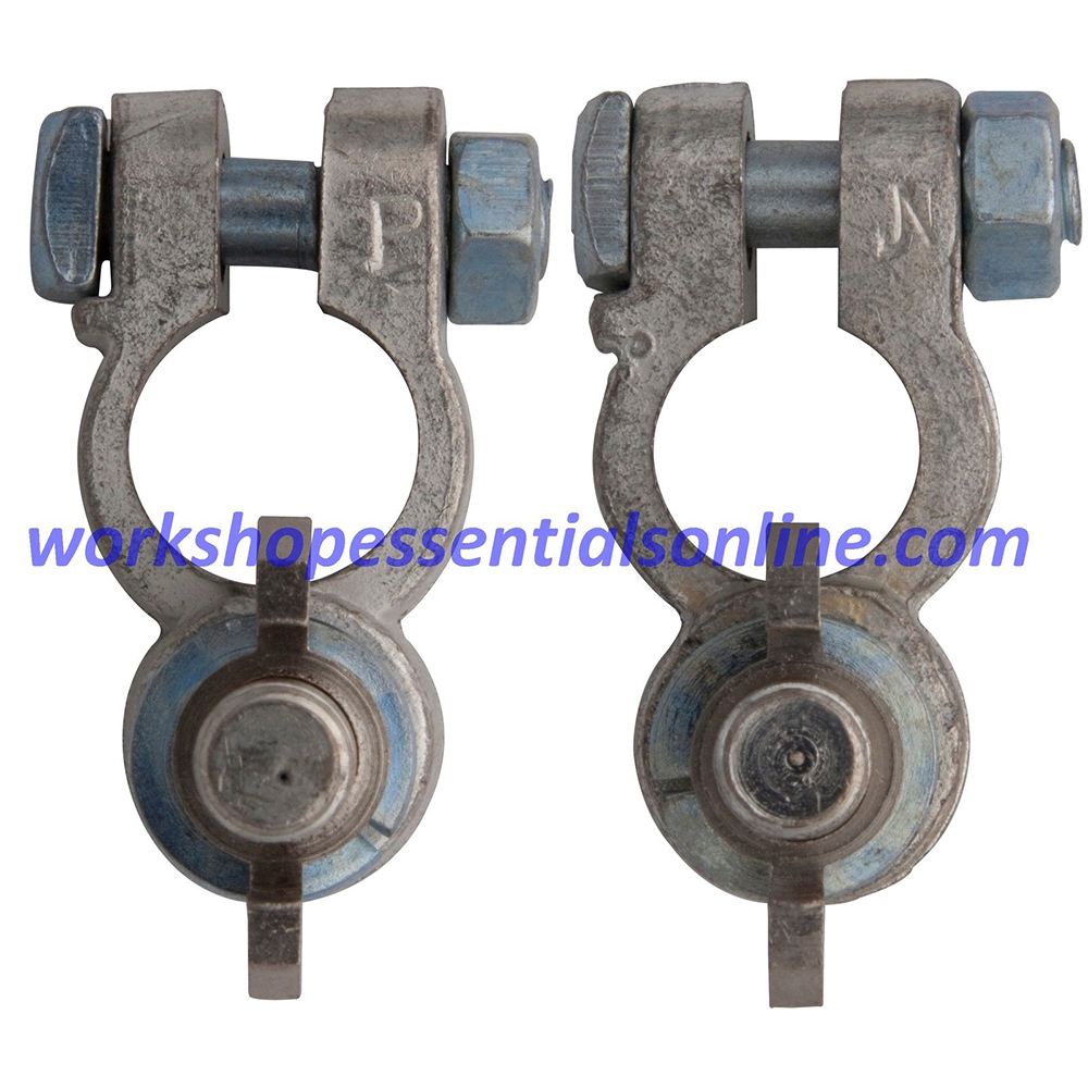 Battery Terminals Clamps 2Pc 10mm Post Type inc Wing Nuts Pos+Neg H-Duty BT23+24