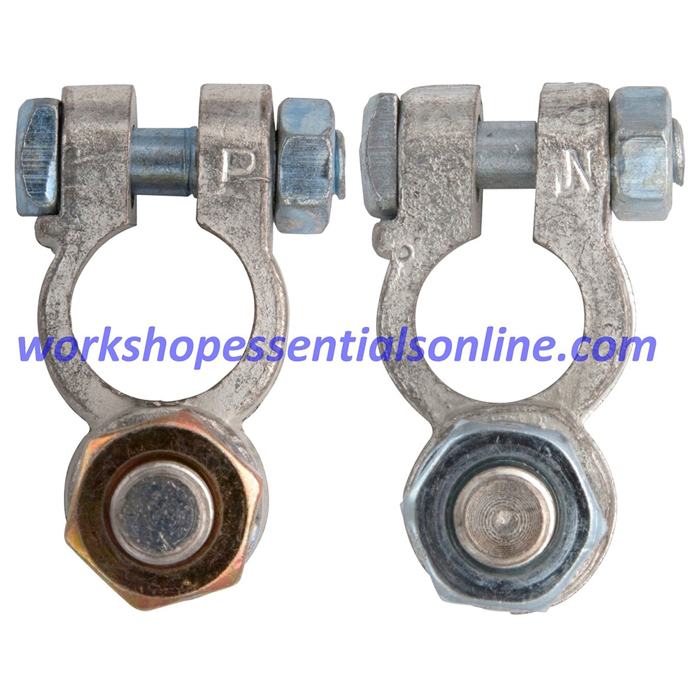 Battery Terminals Clamps 2Pc 10mm Post Type with Nuts Pos & Neg H-Duty BT25+26
