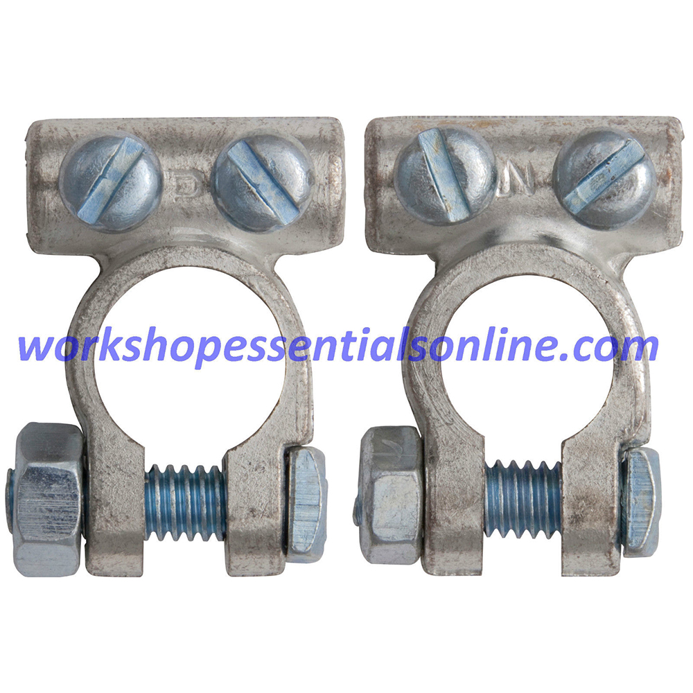 Battery Terminals Clamps 2Pc 25mm² Cable 8.5mm Pos & Neg Standard H-Duty BT1+2