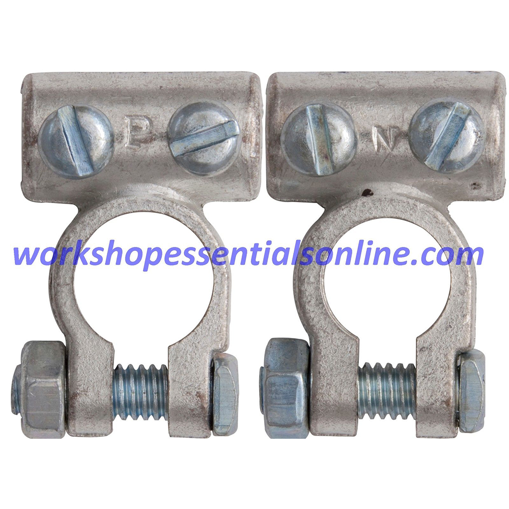 Battery Terminals Clamps 2Pc 60mm² Cable 10.5mm Pos & Neg Standard H-Duty BT3+4