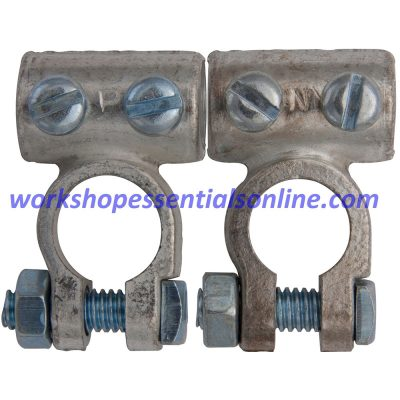 Battery Terminals Clamps 2Pc 70mm² Cable 14mmØ Pos & Neg Standard H-Duty BT21+22