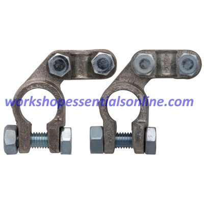 Battery Terminals Clamps 2Pc Offset Type with Nuts Pos & Neg Heavy Duty BT27+28