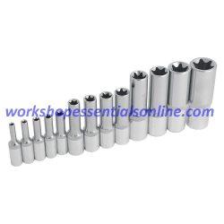 "E-Torx Deep Socket Set 1/4""-3/8""-1/2"" Drive 13 Piece Trident T100650 Free P&P"