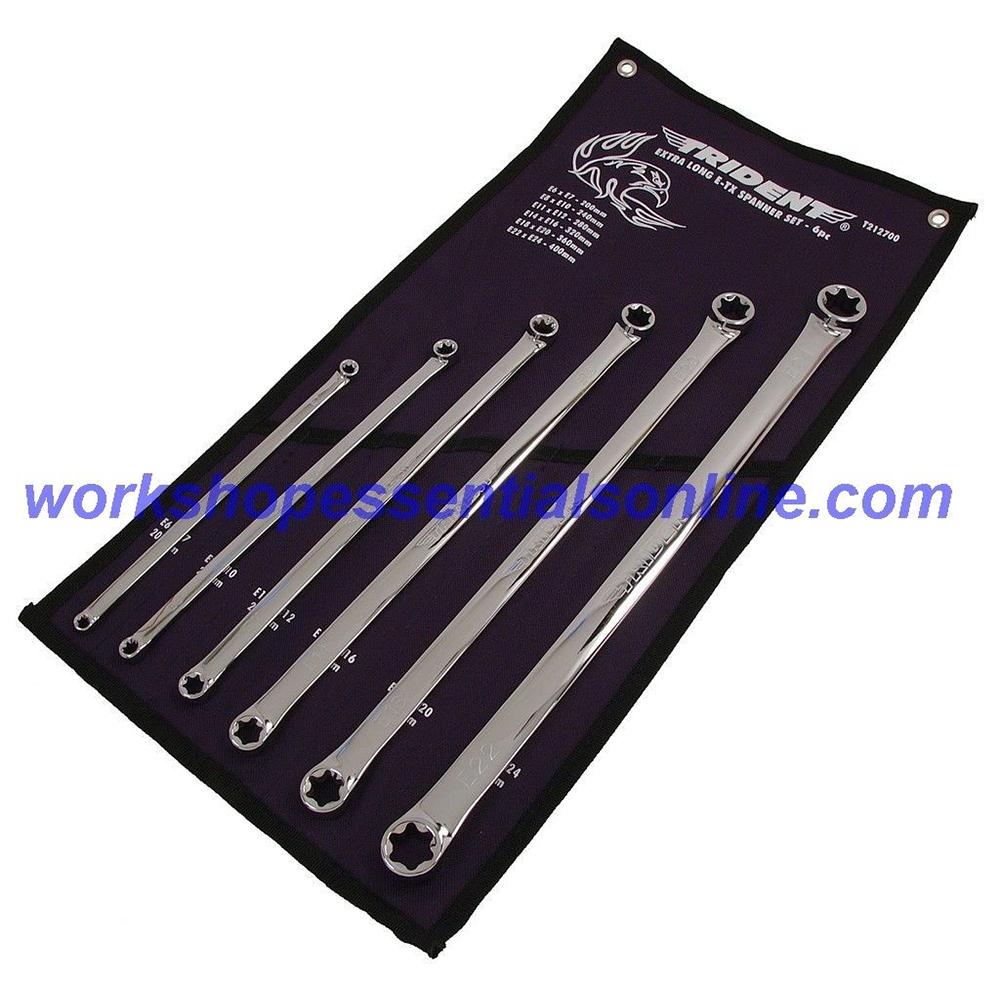 E-Torx Flat Ring Spanner Set Extra Long 6pc E6-E24 Trident T212700