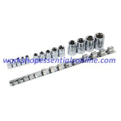 "E-Torx Socket Set 1/4""-3/8""-1/2"" Drive E4-E24 14 Pc on a Clip Rail Signet S23630"