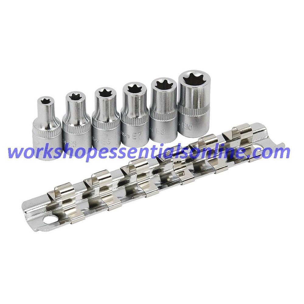"""E Torx Socket Set 1/4"""" Drive E4-5-6-7-8 and E10 6pc Signet Tools S11166"""