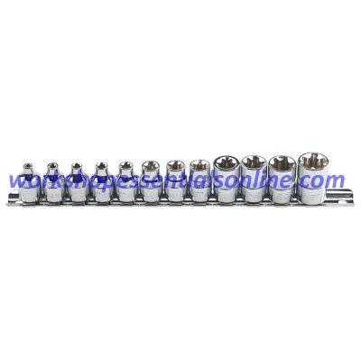 "E-Torx Socket Set 3/8"" Drive E4-E20 12 Pieces on a Clip Rail Signet S12181"