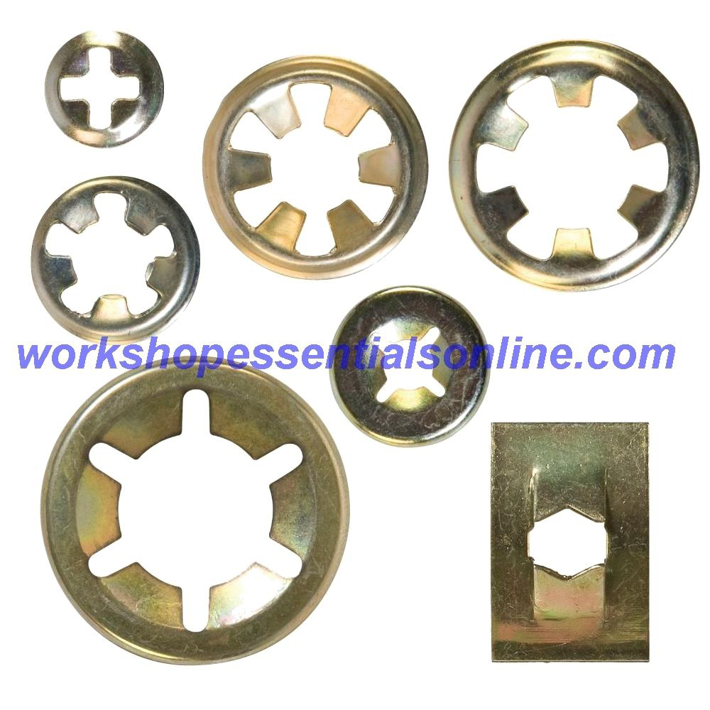 "Flat Clips Steel Push On Starlock Washers Round & Rectangle 2.4-10mm 3/32""-3/8"""