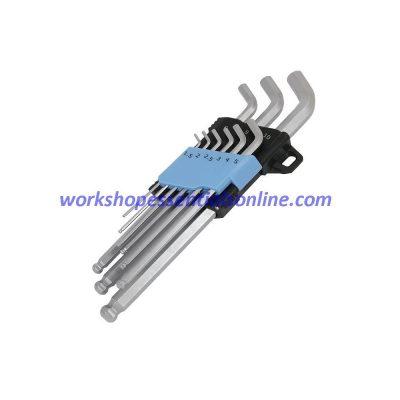 Hex Key Set 110º Offset 9 Piece Stubby Ball End 1.5mm-10mm Trident T221200