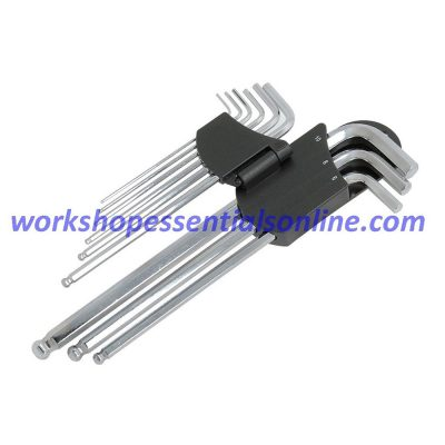 Hex Key Set Extra Long 9 Piece with Magnetic End 1.5mm-10mm Trident T221100