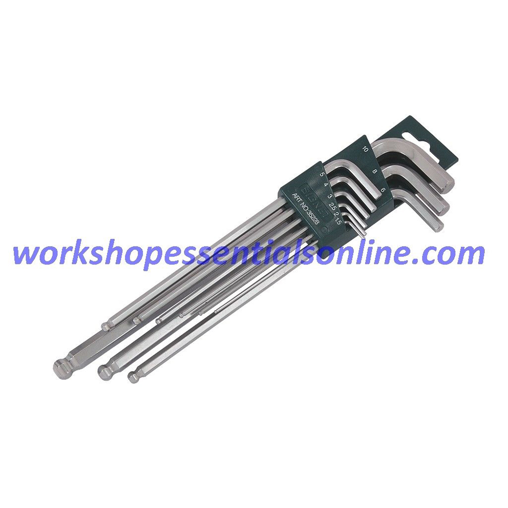 Hex Key Set Metric Extra Long Signet S35228 9 Pieces 1.5 - 10mm With Ball End