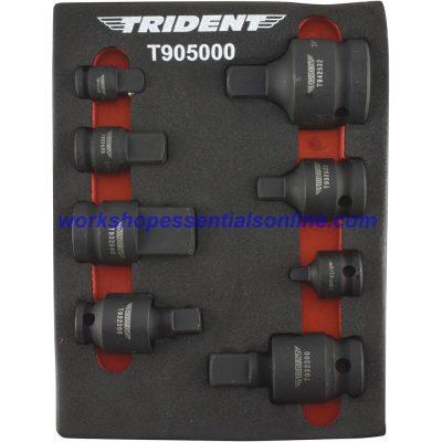 "Impact Adaptor & UJ Set 1/4""-3/8""-1/2""-3/4"" Drive 8 Pc Trident T905000"