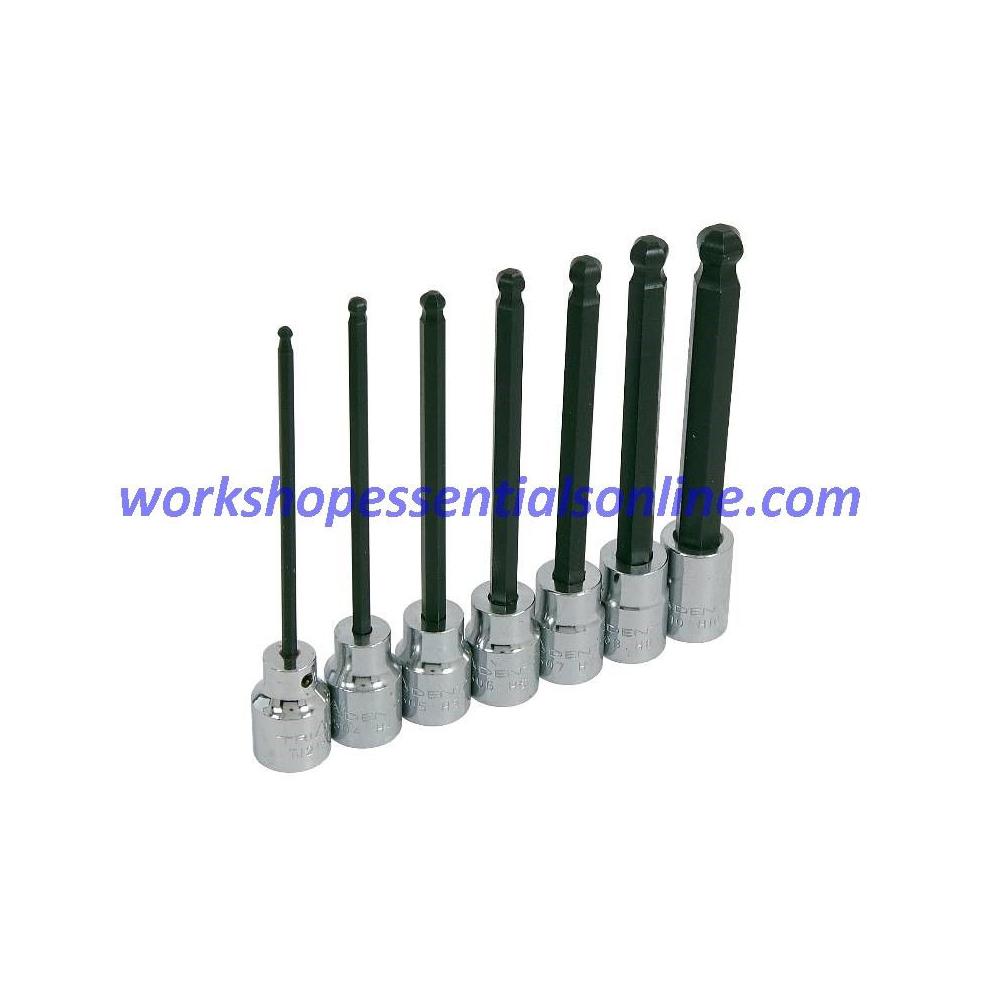 "Long Ball End Hex Key Socket Set Metric 3/8"" Drive 3-10mm Trident T121500"