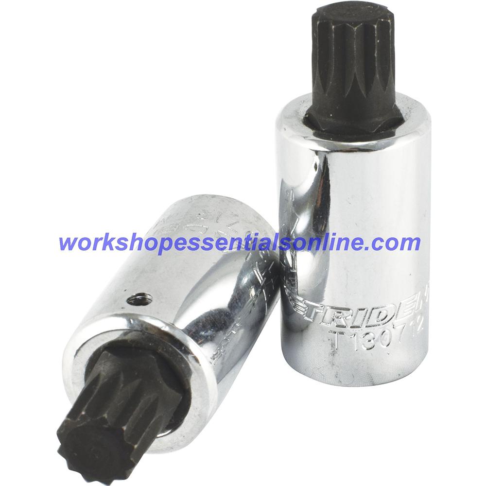 "Long Spline Bit Socket M10 1/2"" Drive 55mm Long Trident Quality Tools T130710"