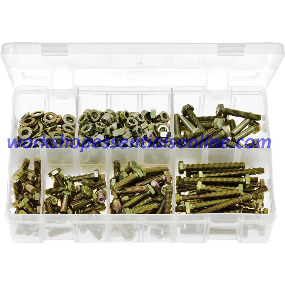 M8 Setscrews Nuts & Washers Assorted Lengths 20mm-75mm Pack of 220 Boxed AB129