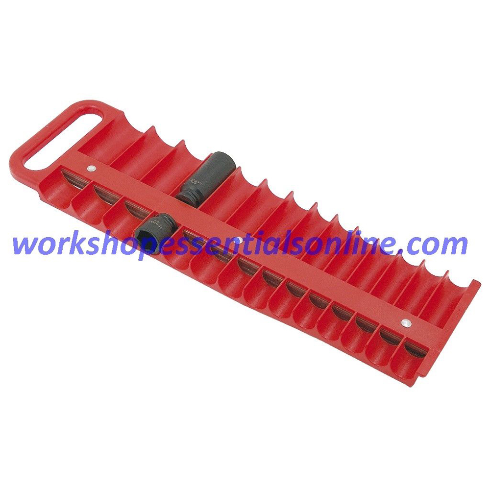 "Magnetic Socket Holder Red 3/8"" Drive Holds 28 Sockets Lisle L4020"