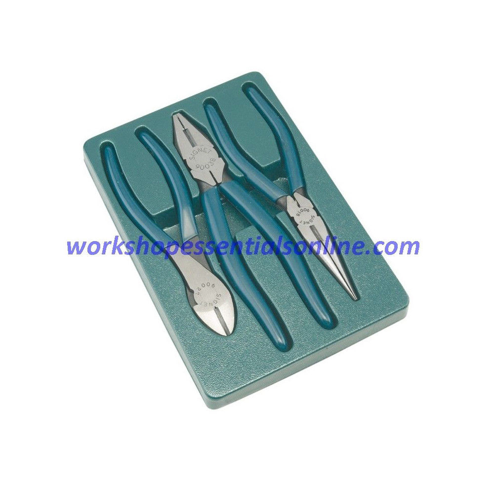 Plier Set Signet S90903 Professional 3piece Side Cutters, Long Nose, Combination