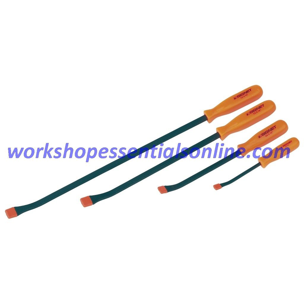 "Pry Bar Set 4 Piece 8 12 18 24"" Signet S46224 Professional Quality Hi Vis Orange"