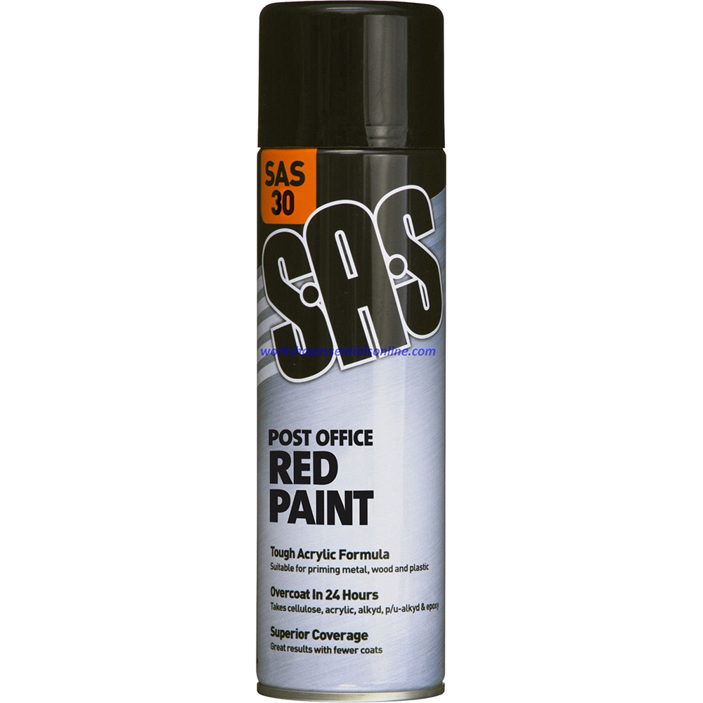 Red Gloss Spray Paint Post Office Red 500ml Fast Drying Tough Acrylic SAS30