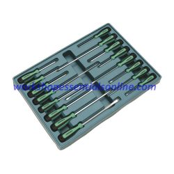 Screwdriver Set 16 Piece Signet S55541 with Flat, Phillips, Pozi, TX Green-Black
