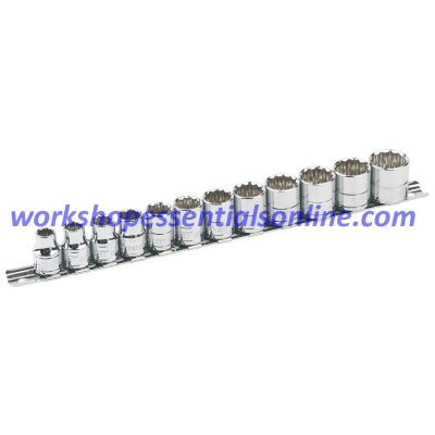 "Signet 3/8"" Drive Socket Set 8mm-19mm 12 Point/Bi Hex 12 Pieces on Rail S12392"