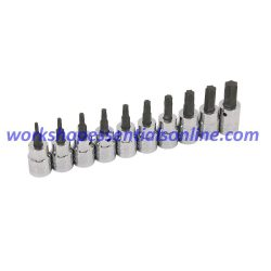 "Torx Bit Socket Set 3/8"" Drive T10-T55 10pc on Clip Rail Trident T120500"