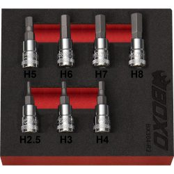 "1/4"" Drive Hex Bit Socket Set 2.5-8mm 7 Pieces in a Foam Tray"